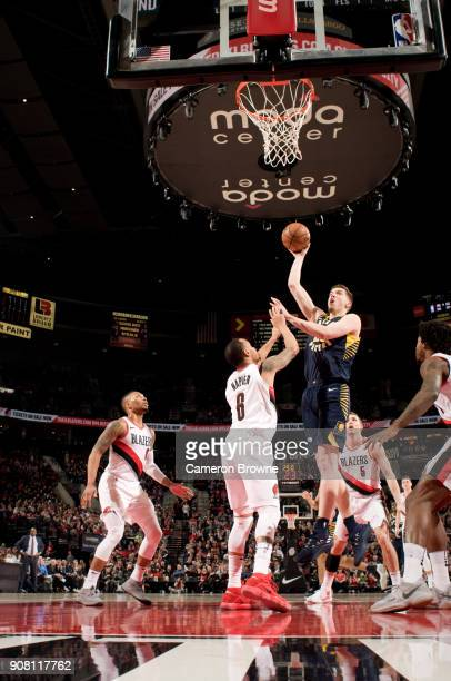 J Leaf of the Indiana Pacers shoots the ball during the game against the Portland Trail Blazers on January 18 2018 at the Moda Center Arena in...