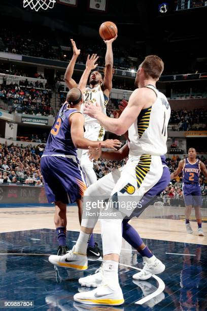 J Leaf of the Indiana Pacers shoots the ball during the game against the Phoenix Suns on January 24 2018 at Bankers Life Fieldhouse in Indianapolis...