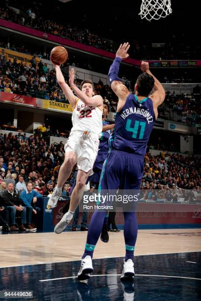 J Leaf of the Indiana Pacers shoots the ball during the game against the Charlotte Hornets on April 10 2018 at Bankers Life Fieldhouse in...