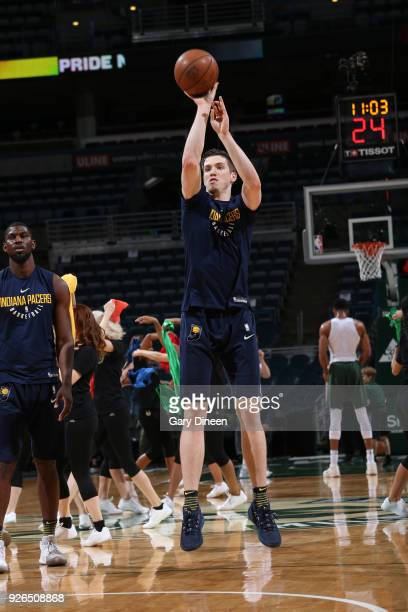 J Leaf of the Indiana Pacers warms up before the game against the Milwaukee Bucks on March 2 2018 at the BMO Harris Bradley Center in Milwaukee...