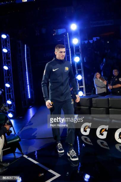 J Leaf of the Indiana Pacerss is introduced before the game against the Brooklyn Nets on October 18 2017 at Bankers Life Fieldhouse in Indianapolis...