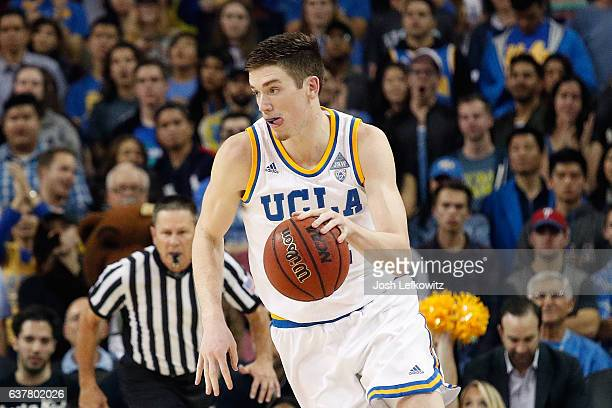 J Leaf of the UCLA Bruins dribbles the ball down court during the game against the Califorinia Golden Bears at Pauley Pavilion on January 5 2017 in...