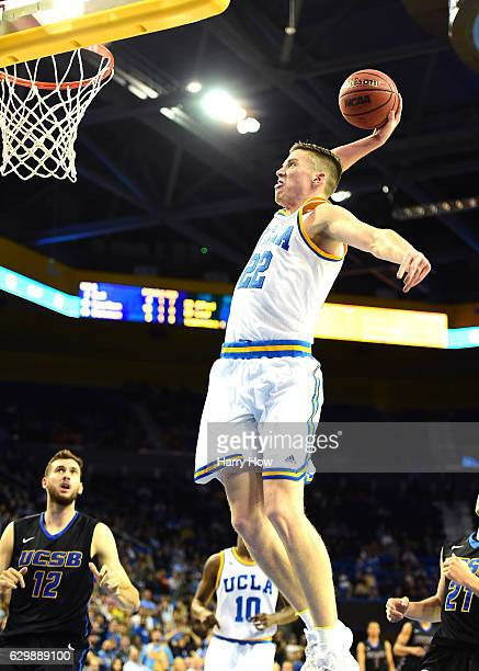 Leaf of the UCLA Bruins dunks during a 10262 win over the UC Santa Barbara Gauchos at Pauley Pavilion on December 14 2016 in Los Angeles California