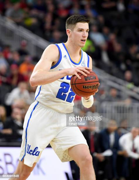 Leaf of the UCLA Bruins looks to pass against the USC Trojans during a quarterfinal game of the Pac12 Basketball Tournament at TMobile Arena on March...
