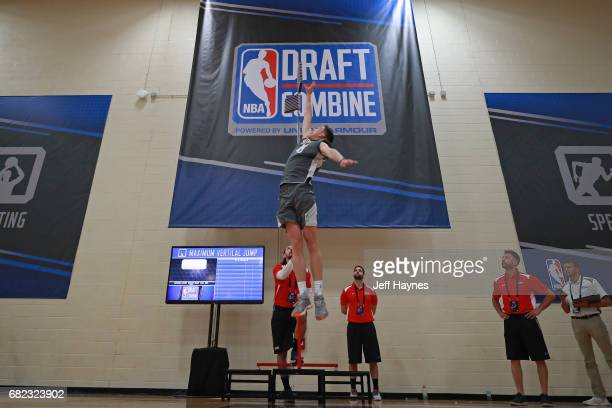 J Leaf participates in the vertical jump during the NBA Draft Combine at the Quest Multisport Center on May 11 2017 in Chicago Illinois NOTE TO USER...