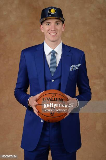 Leaf poses for a portrait after being drafted number eighteen overall to the Indiana Pacers during the 2017 NBA Draft on June 22 2017 at Barclays...