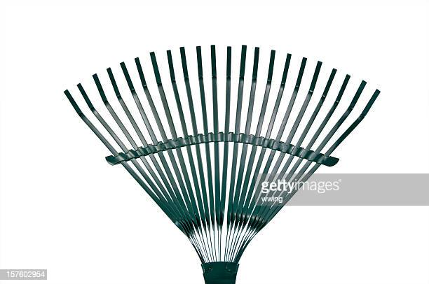 leaf rake with clipping path - rake stock pictures, royalty-free photos & images