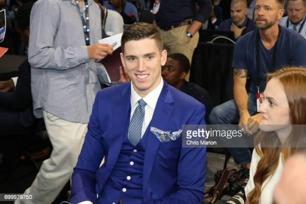 Leaf sits with his family prior to the 2017 NBA Draft on June 22 2017 at Barclays Center in Brooklyn New York NOTE TO USER User expressly...