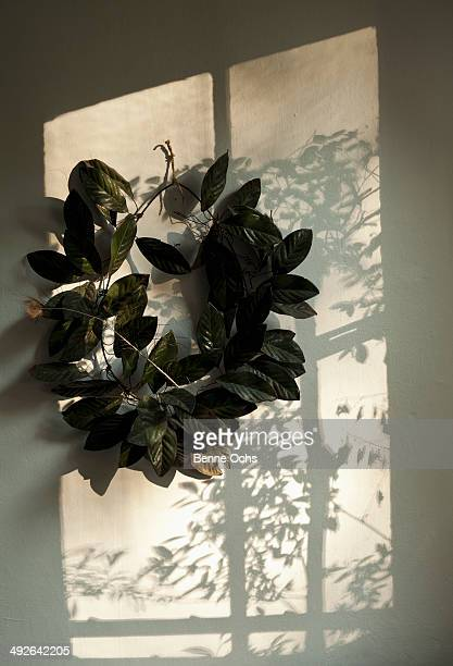 Leaf wreath on wall