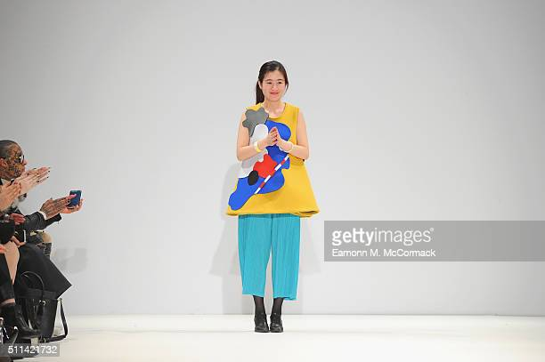 Leaf Xia at her show at Fashion Scout during London Fashion Week Autumn/Winter 2016/17 at Freemasons' Hall on February 20 2016 in London England