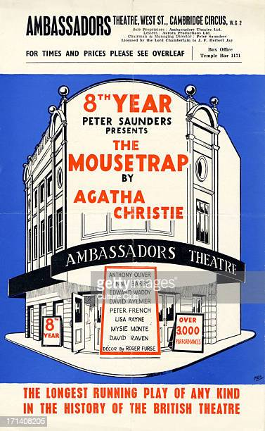 Agatha Christie play ' The Mousetrap ' Leaflet from production at the Ambassadors Theatre London in its 8th year Produced by Peter Saunders Christie...