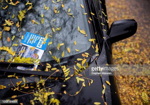 A leaflet placed on a car windshield promotes DFL candidates on Election Day November 6 2018 in Minneapolis United States Voters in Minnesota will be...