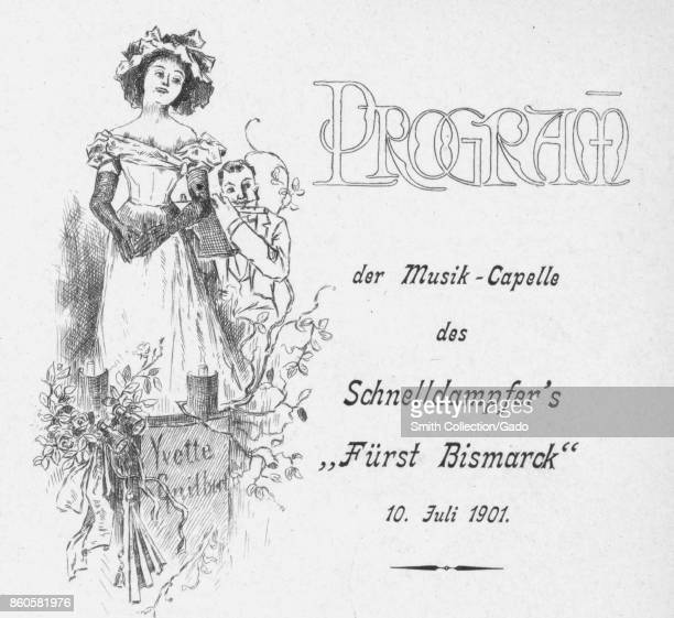 Leaflet titled 'Program der music capelle des schnelldampfer's' on the steamboat First Bismarck with male and female likeness July 10 1901 From the...
