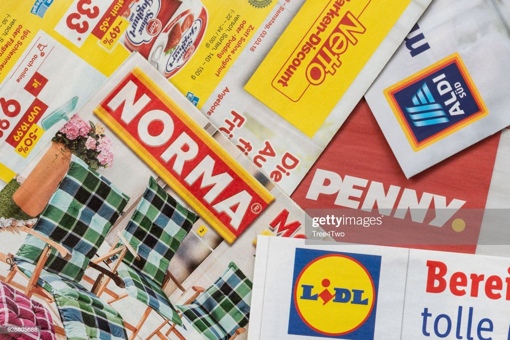 leaflets and flyers of german discount market chains stock photo