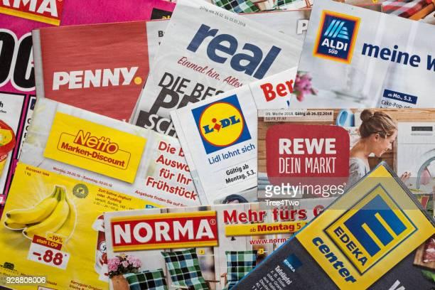 Broschüren und Flyer der deutschen Supermarktketten