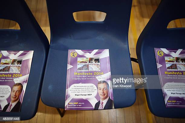 Leaflets are placed on seats ahead of a speech by UKIP leader Nigel Farage at Old Basing Village Hall on April 9 2014 in Basingstoke England Mr...