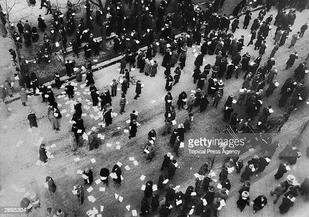 Leaflets being distributed from the air in the Potsdamer Platz Berlin during the Kapp Putsch