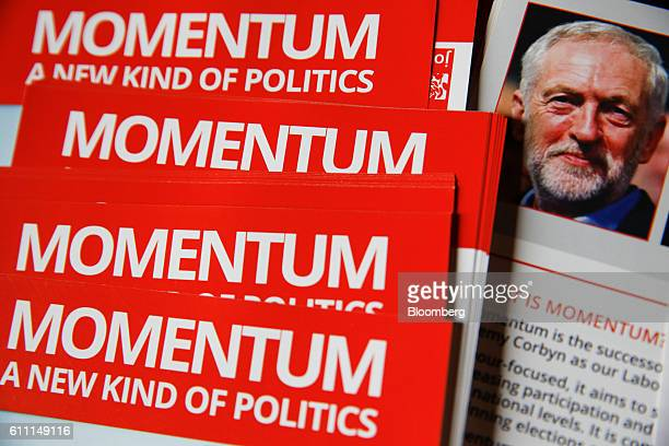 Leaflets for Momentum the group set up to support Jeremy Corbyn leader of the UK opposition Labour Party sit on a table after an event held on the...