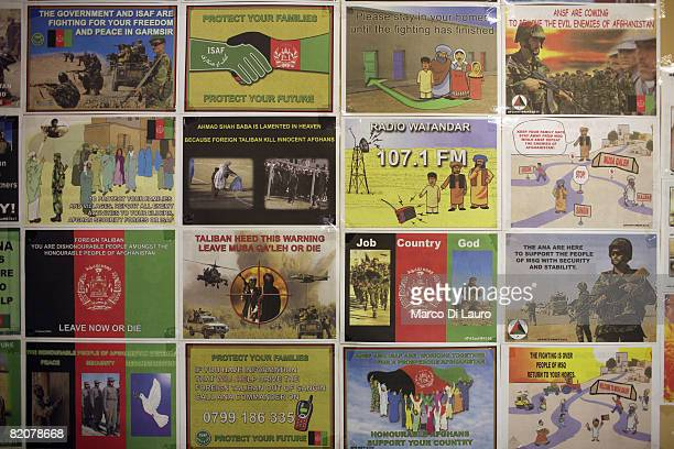 Leaflets made by the British army 15 Psychological Operations Group are displayed in their office at the British army base Task Force Helmand...