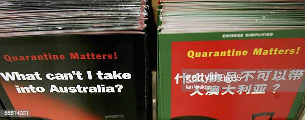 Leaflets on Australian quarantine are displayed at Sydney International Airport September 28 2005 in Sydney Australia The Australian Quarantine...