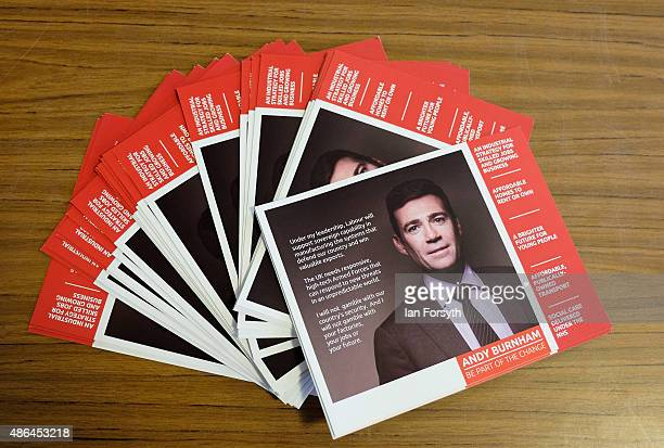Leaflets supporting the Shadow Health Secretary and Labour leadership hopeful Andy Burnham are displayed on a table as he speaks to party members...
