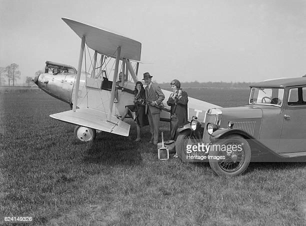 LeaFrancis V type saloon and Blackburn Bluebird aeroplane c1930 Artist Bill BrunellLeaFrancis V type saloon 1496 cc Vehicle Reg No VC3461 Blackburn...