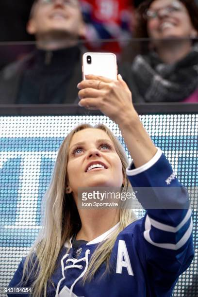 Leafs fan takes a selfie during the final NHL 2018 regularseason game between the Montreal Canadiens and the Toronto Maple Leafs on April 7 2018 at...