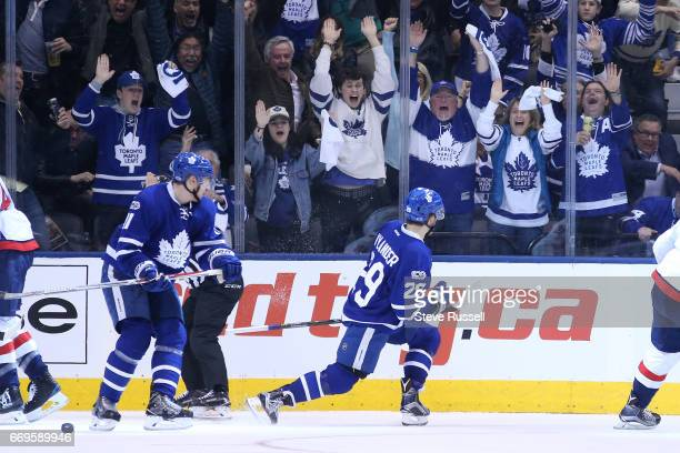 TORONTO ON APRIL 17 Leafs fans erupt as Toronto Maple Leafs right winger William Nylander ties the score at threes as he slips the puck past Braden...