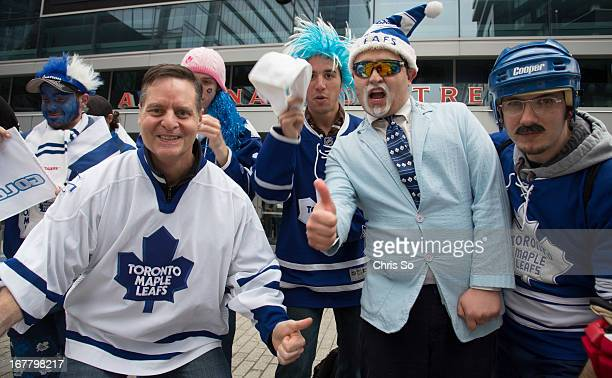 Leafs fans gather outside the Air Canada Cenre for a chance to score some gold playoff tickets in a series of elimination games including Simons says...