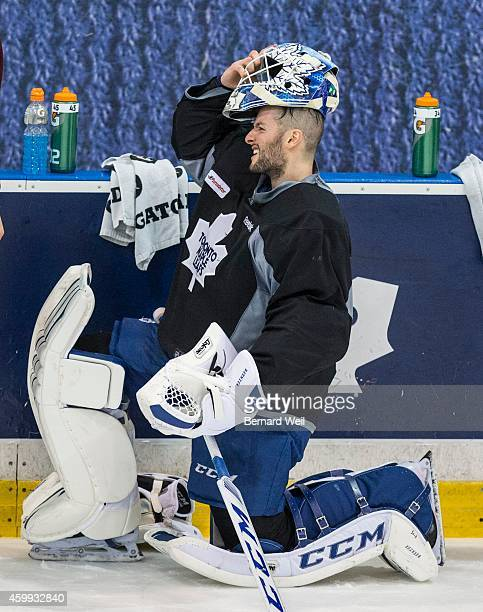 ON DECEMBER 3 Leafs' goalie Jonathan Bernier takes a break during practice at the Mastercard Centre December 3 2014