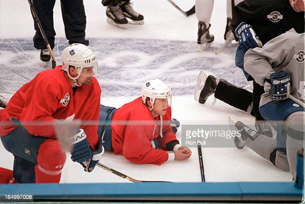 Leafs practice 04/30/01 Players requested Cujo dropping his stick by paul Hunter Dave Manson light greyish top getting cut attended too Cory Cross in...
