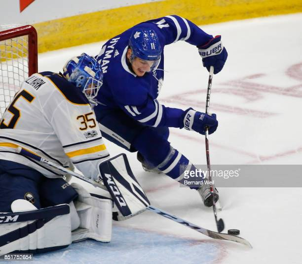 TORONTO ON SEPTEMBER 22 Leafs' Zach Hyman fails on a wrap around against Sabres' goalie Linus Ullmark in 1st period action as the Toronto Maple Leafs...