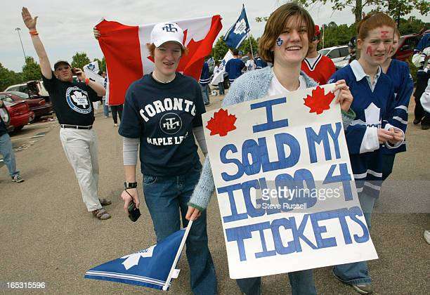 LEAFS05/19/02Sharon Prior of Hamilton sells Carolina fans a stereotype as the Toronto Maple Leafs take on the Carolina Hurricaines in Game Two of...