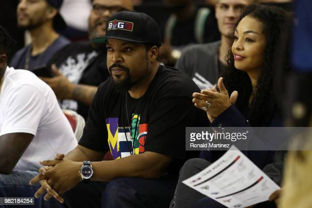 League CoFounder and entertainer Ice Cube is seen with his wife Kimberly Woodruff during week one of the BIG3 three on three basketball league at...