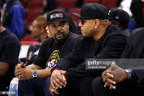 League CoFounder and entertainer Ice Cube talks with rapper and entertainer LL Cool J during week two of the BIG3 three on three basketball league at...