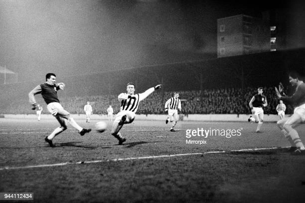 League cup Final First Leg match at Upton park. West Ham United 2 v West Bromwich Albion 1. , Action from the match, 9th March 1966.