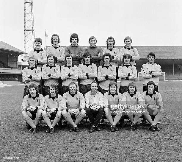 League Cup Finalists Wolverhampton Wanderers posing for a preWembley squad photograph at Molineux in Wolverhampton 21st February 1974 Back row Derek...