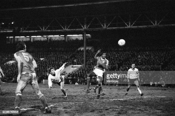 League Cup Semi Final First Leg match at the City Ground Nottingham Forest 1 v Liverpool 0 Viv Anderson's high boot fails to discourage Kenny...