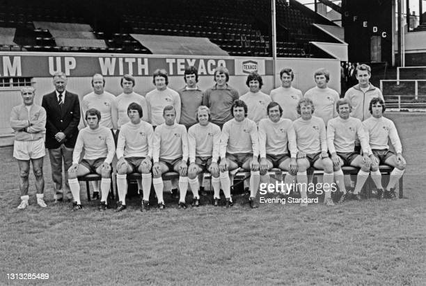League Division One team Derby County FC, at their home ground in Derby at the start of the 1973-74 football season, UK, 30th August 1973. From left...