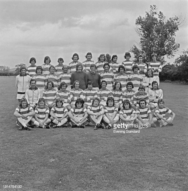 League Division One team Queens Park Rangers at the start of the 1974-75 football season, UK, 1st August 1974. From left to right Mark Hewson, Alan...