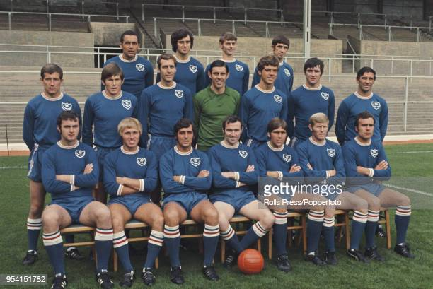 League Division Two team Portsmouth FC squad members pictured together on the pitch at Fratton Park Stadium in Portsmouth in 1971 The team include...