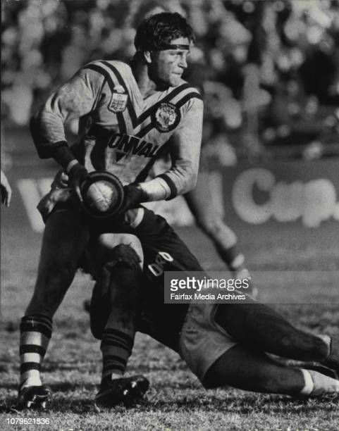 League Easts Vs Balmain at the Sydney Sports GroundWayne Pearce is caught but manages to get the ball away May 29 1983