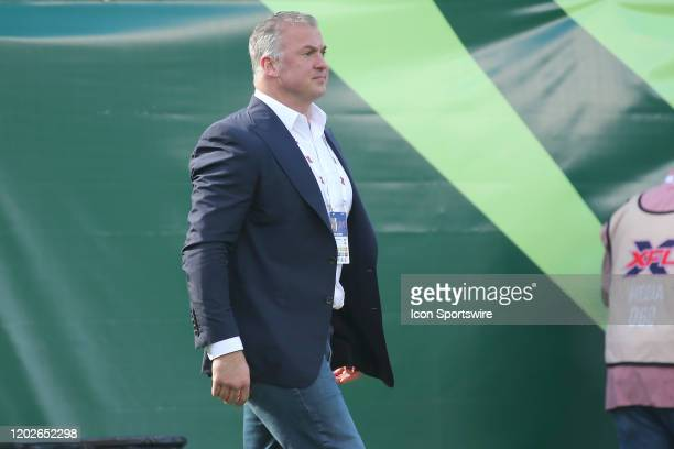 League executive Shane McMahon walks onto the field during the regular season game between the Houston Roughnecks and the Tampa Bay Vipers on...
