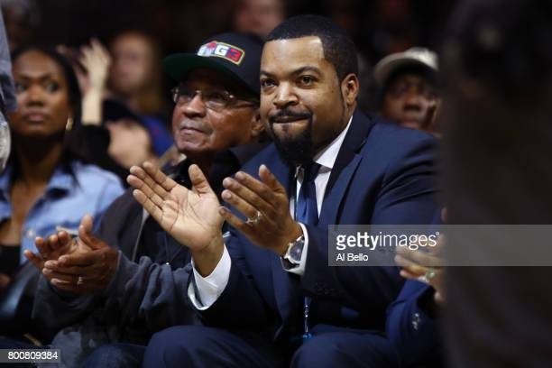 League founder Ice Cube acknowledges the crowd during week one of the BIG3 three on three basketball league at Barclays Center on June 25 2017 in New...