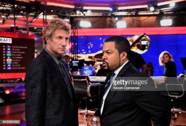 BIG3 league founders Jeff Kwatinetz and Ice Cube during the BIG3 2018 Player Draft at Fox Sports Studio on April 12 2018 in Los Angeles California