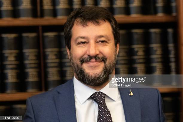 League Leader Matteo Salvini speaks to the press during the presentation of the 5xMille bill to the Police Forces at the Senate Hall Koch in Rome