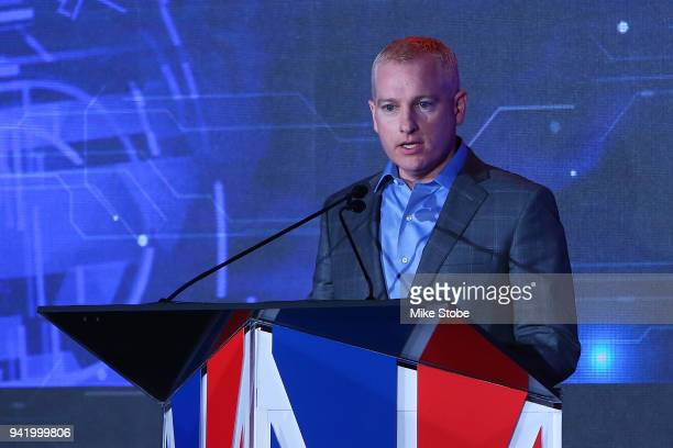League Managing Director Brendan Donohue speaks to the media during NBA 2K League Draft at Madison Square Garden on April 4 2018 in New York City