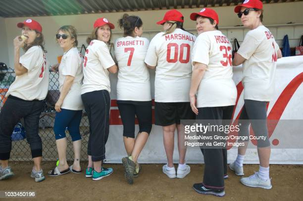 A League of their Own actress show off their movie names after coming together at Saddleback College for a morning of fun and softball They played in...