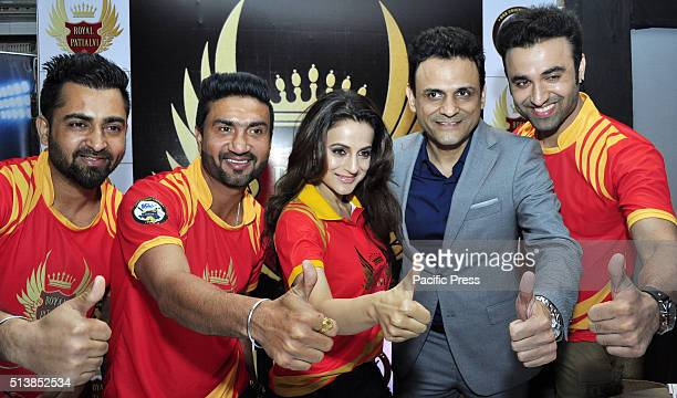 League owner Sumit Dutt singer Preet Harpal Bollywood Actress Amisha Patel Sherry Mann and actor Jimmy Sharma during the launch of 1st team of BCL...