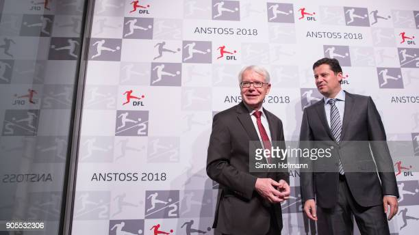 League President Dr Reinhard Rauball chats with DFL CEO Christian Seifert during the 2018 DFL New Year Reception at Thurn Taxis Palais on January 16...